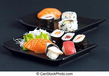 sushi - various types of japanese sushi and sashimi