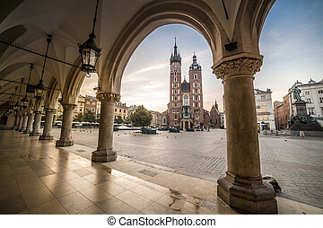Market square of Krakow, Poland, Europe - Cloth's Hall and...