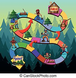 Game template with lumber jack chopping woods illustration