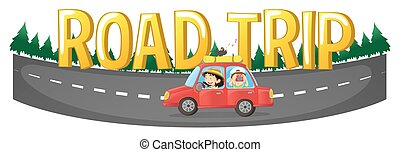 People driving on the road trip illustration