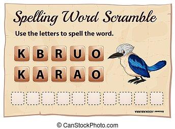 Spelling word scramble for word kookabura illustration