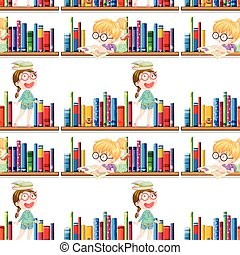 Seamless background design with kids and books