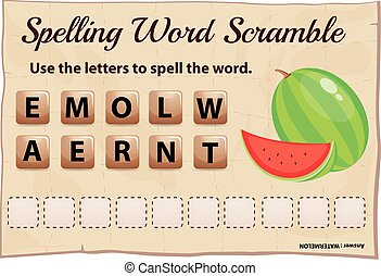 Spelling word scramble for word watermelon