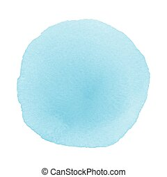 Blue round watercolor on white background