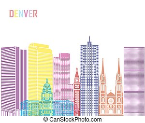 Denver V2 skyline pop in editable vector file