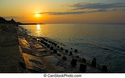 Sunrising at Black sea coast.