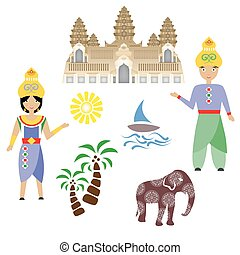 the Cambodia set - illustration in style of flat design on...