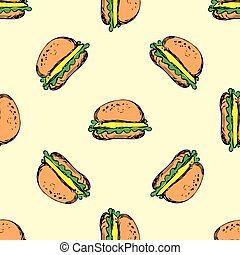 Seamless pattern cheeseburger with onion lettuce and sauces...