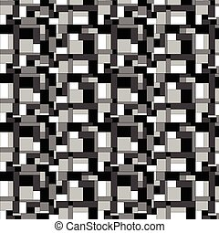 Squares and rectangles pattern in shades of black