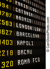 Travel - Departure board at an airport in Italy. Flights to...
