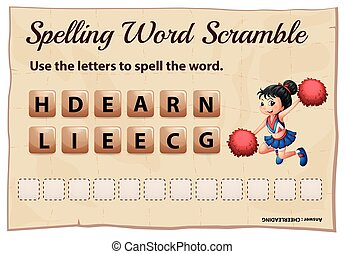 Spelling word scramble game template with cheerleading...