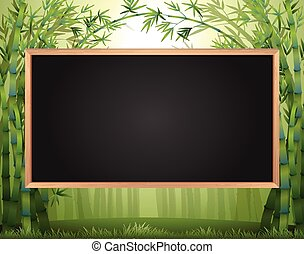Frame design with bamboo forest in background illustration