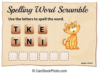 Spelling word scramble game template with kitten