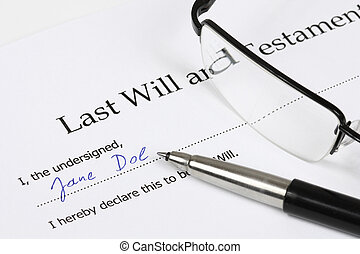 Last Will and Testament with a fictional name and signature...