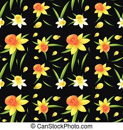 Seamless background design with daffodil flowers...