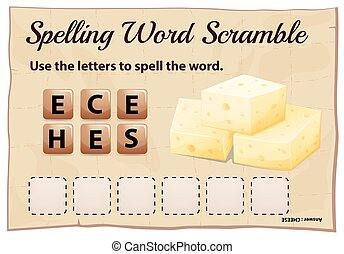 Spelling word scramble game template with word cheese