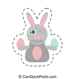 Easter rabbit with eggs icon