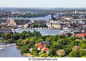 Stockholm, Sweden. Aerial view of famous Gamla Stan (the Old...