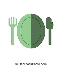 garfo, prato, faca, ícone