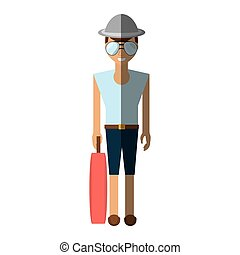 man with travel bag icon