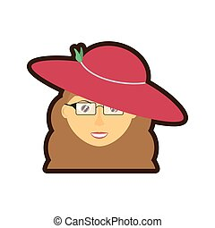 face elegant woman hat related icon, vector illustration...