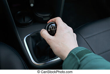 hand on the shift manual transmission