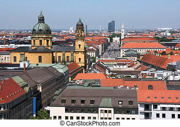 Munich - Cityscape of Munich, Bavaria, Germany. Theatine...