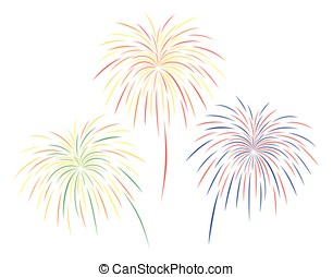 Vector illustration of colorful fireworks set on white background.