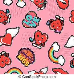 Valentines day social love emoji patch background
