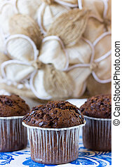 Several chocolate muffins - Chocolate muffins on the board...