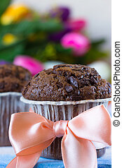 Chocolate muffin as a gift on Mother's Day - Chocolate...