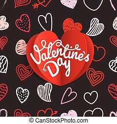Valentines Day greeting card. Different Valentines day hand-drawn hearts pattern. Sketch style hearts