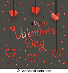 Valentines greeting card. Different shiny vector hearts illustration. Happy Valentines Day greeting card