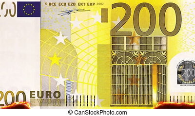 Burning 200 Euro Note - combustion of a 200 Euro note,...