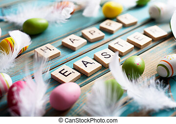 Happy Easter written with wooden letters