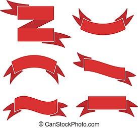 Red web ribbons retro Set, Vector Illustration.