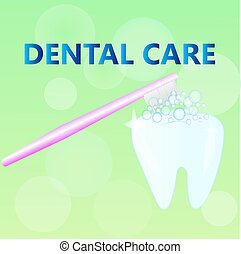 Tooth clean with toothbrush on green background. oral hygiene. Dental care concept. children's illustration