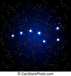 Vector illustration of Constellation the Great Bear with stars on dark blue background