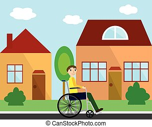 Disabled young man in a wheelchair at street with colorful houses. Flat style