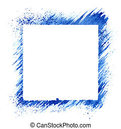 Blue square stencil frame isolated on the white background