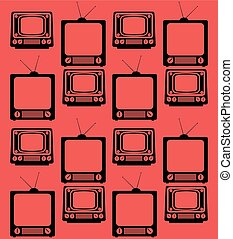 set television vintage device seamless pattern