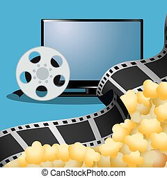 cinema tv film reel with pop corn poster