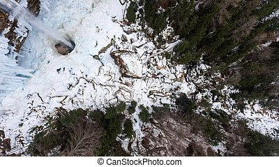 Aeriel view of frozen waterfall. Pericnik in Triglav...