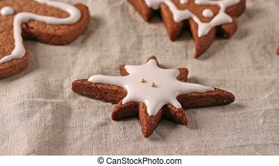 Making and decoration christmas cookies with cookie cutters