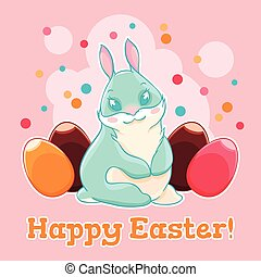 Cute Easter Bunny. Egg hunting. Spring holiday. Vector...