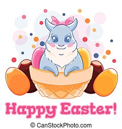 Cute Easter Bunny in basket with sweets and chocolate eggs....
