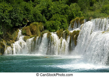 waterfall and forest - National Park in Croatia, a large...