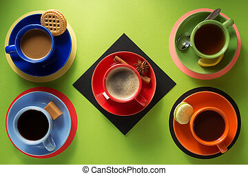 cup of coffee, tea and cacao at colorful background - cup of...