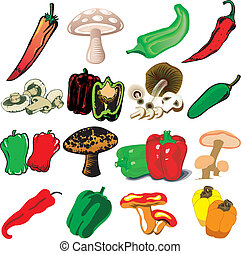 Mushrooms and Peppers - Vector Illustration of 16 different...