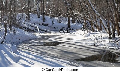 landscape forest stream flows in the winter forest snow nature